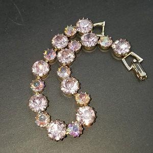Vintage Weiss Lavender Pink Rhinestone Bracelet